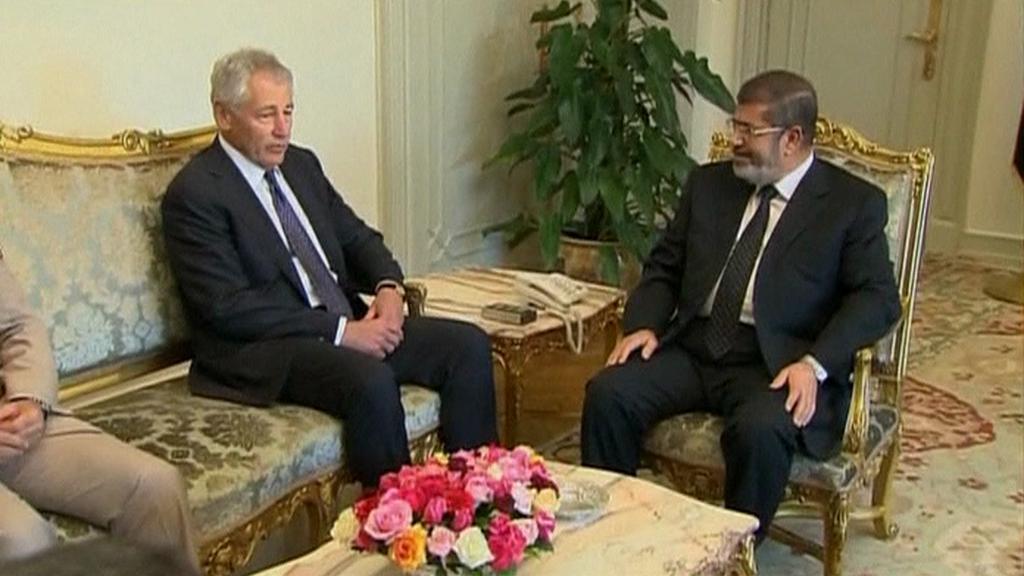 Chuck Hagel a Muhammad Mursí