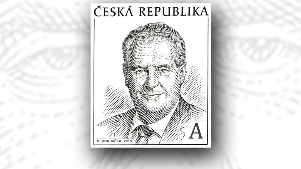Známka s Milošem Zemanem