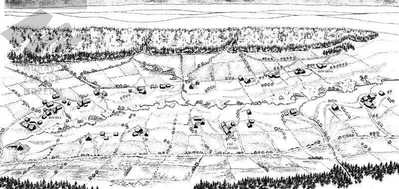 Nákres osady Bystřec