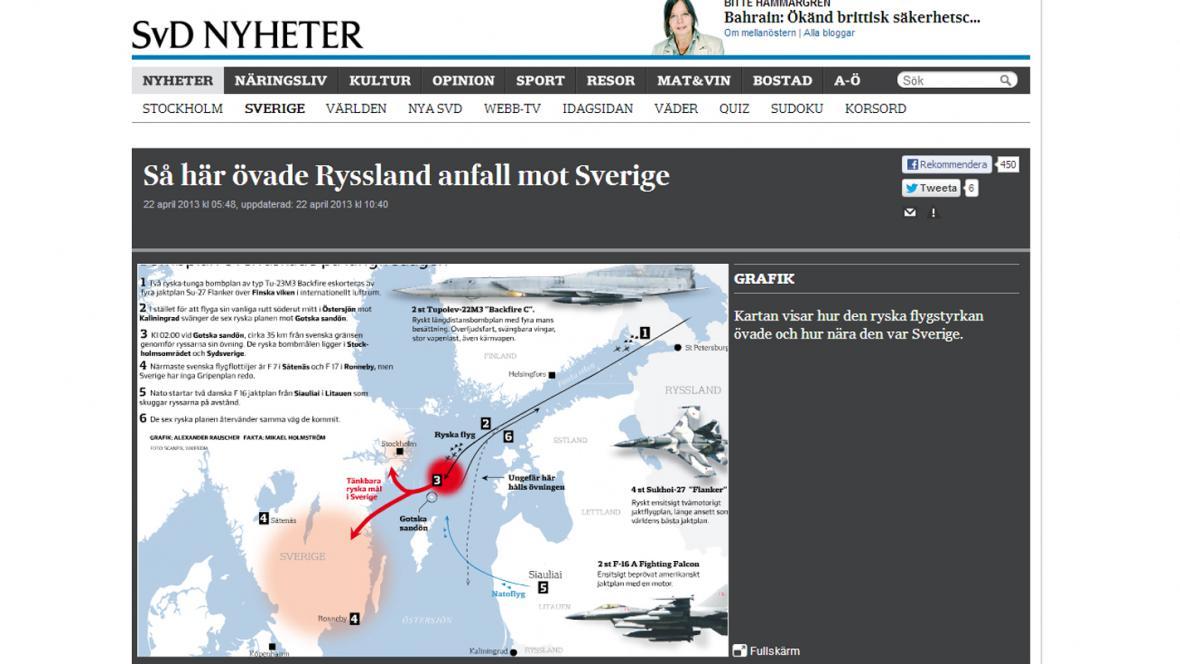 Svenska Dagbladet o ruských letadlech nad Švédskem