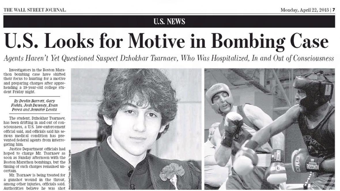 The Wall Street Journal o bostonských atentátnících