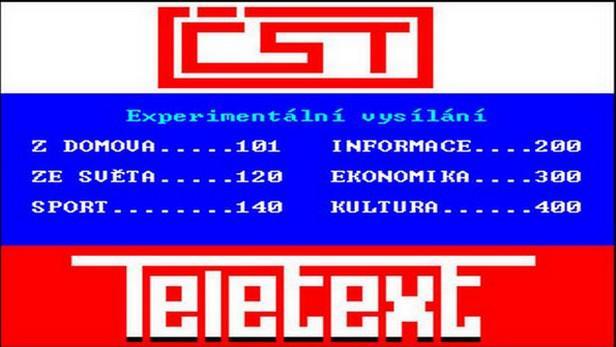 Obsahová stránka teletextu z roku 1988