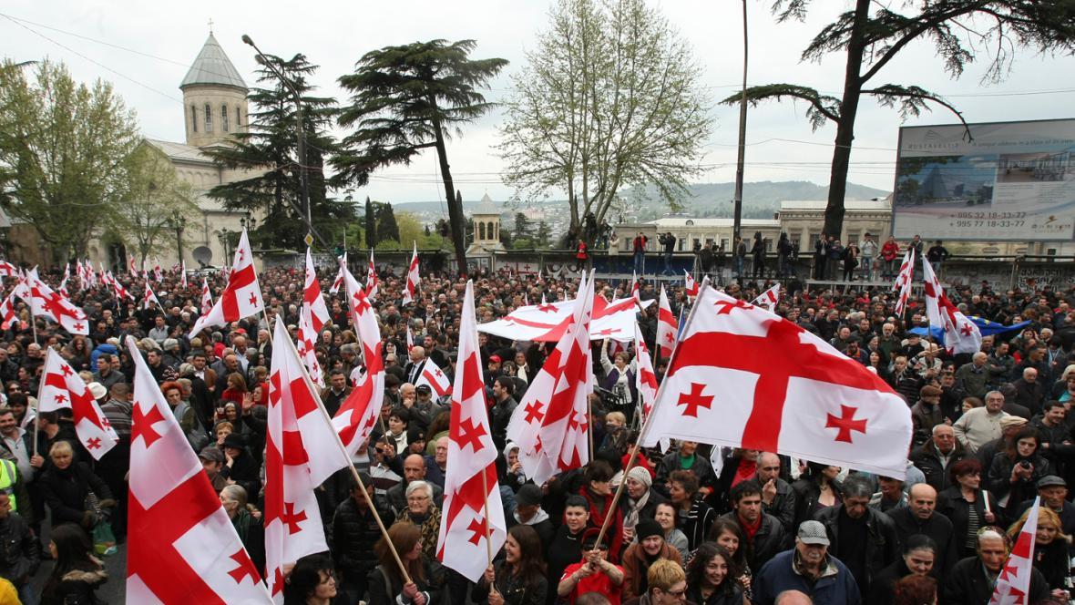 Gruzínci demonstrovali na podporu Saakašviliho