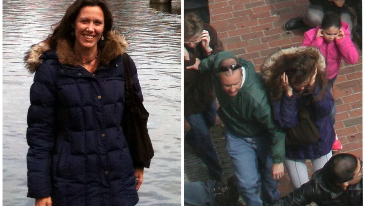 Amy Bertiová (vpravo, bezprostředně po bostonské tragédii)
