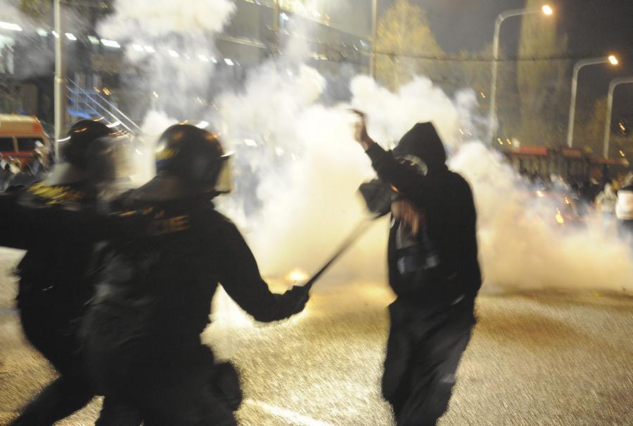 Nepokoje u stadionu Baníku