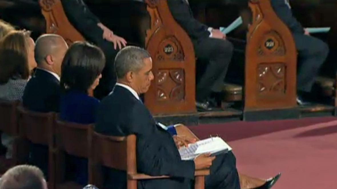 Barack Obama na bohoslužbě za oběti útoku v Bostonu