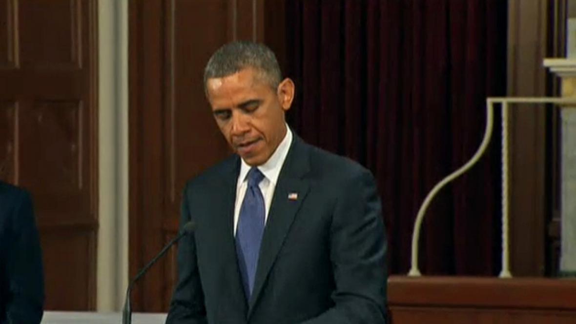 Barack Obama promluvil na bohoslužbě za oběti útoku v Bostonu