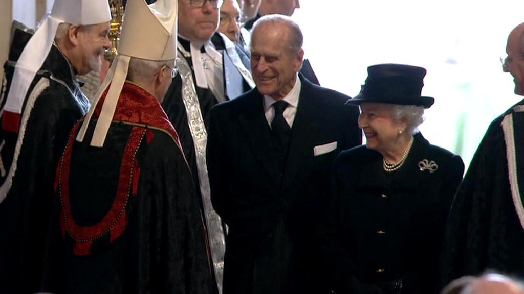 Královna Alžběta II. s princem Phillipem na pohřbu Margaret Thatcherové