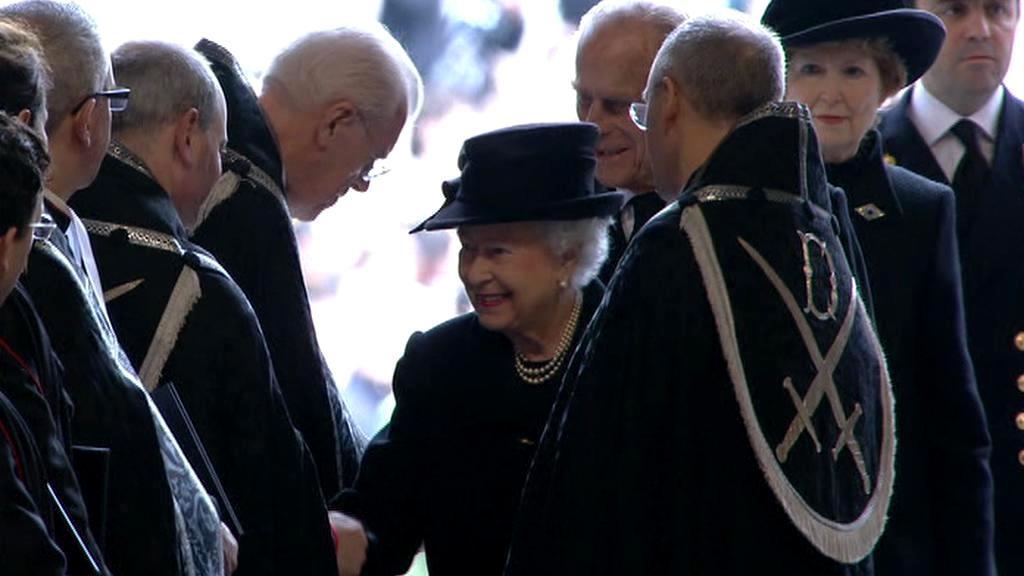 Královna Alžběta II. na pohřbu Margaret Thatcherové