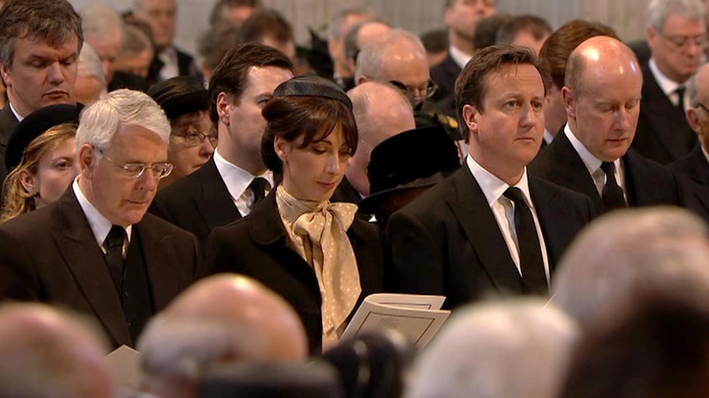 David Cameron na pohřbu Margaret Thatcherové