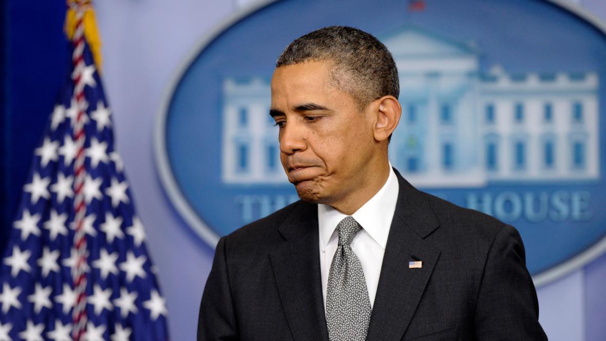 Barack Obama na brífinku k teroristickým útokům v Bostonu
