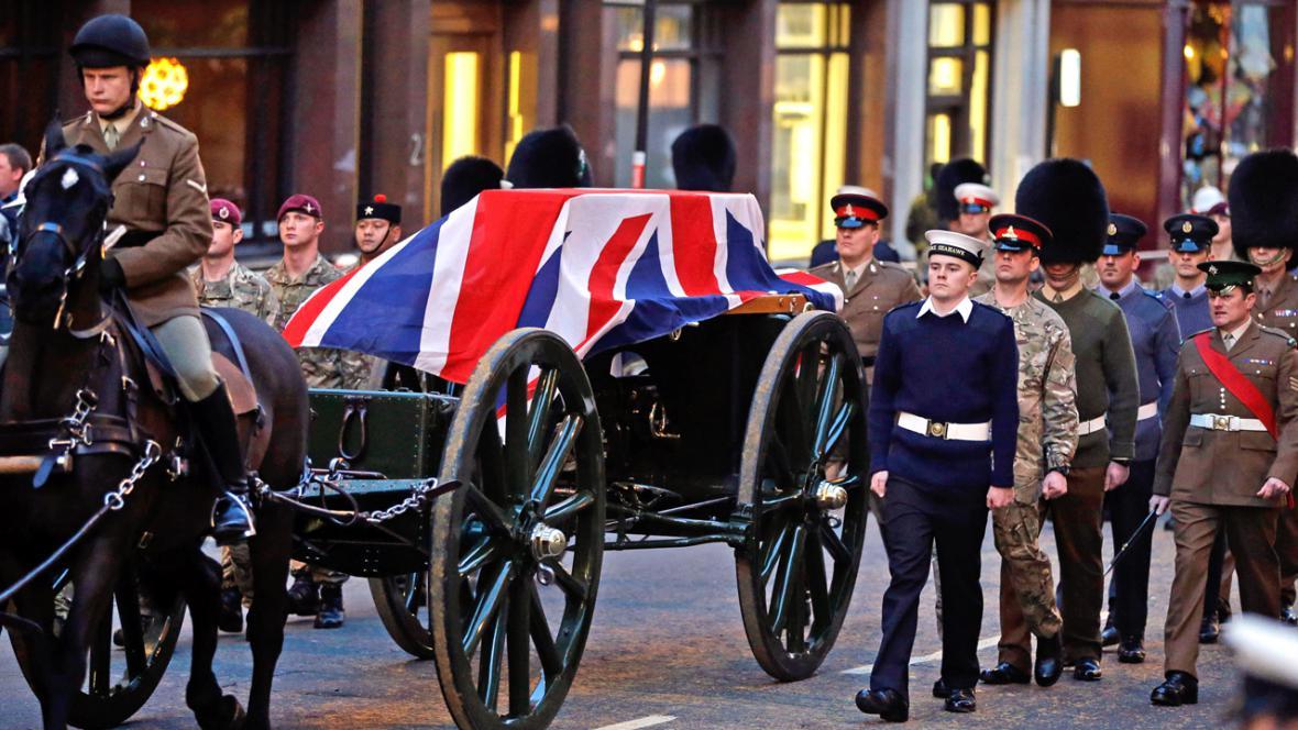 Nácvik pohřbu Margaret Thatcherové