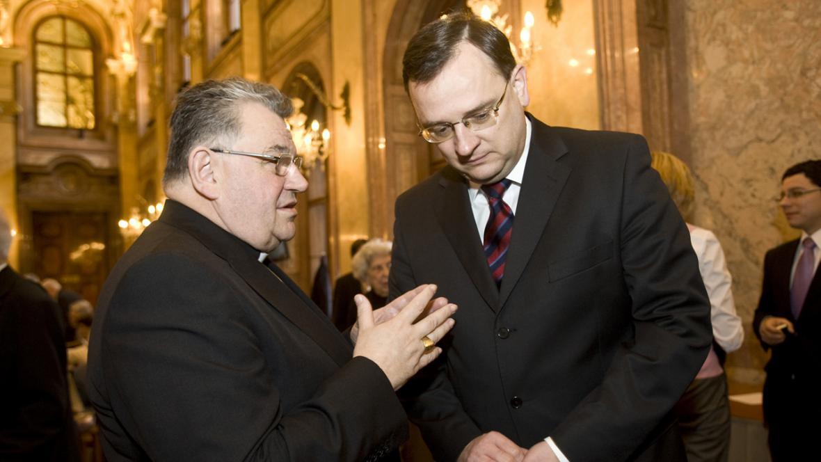 Dominik Duka a Petr Nečas