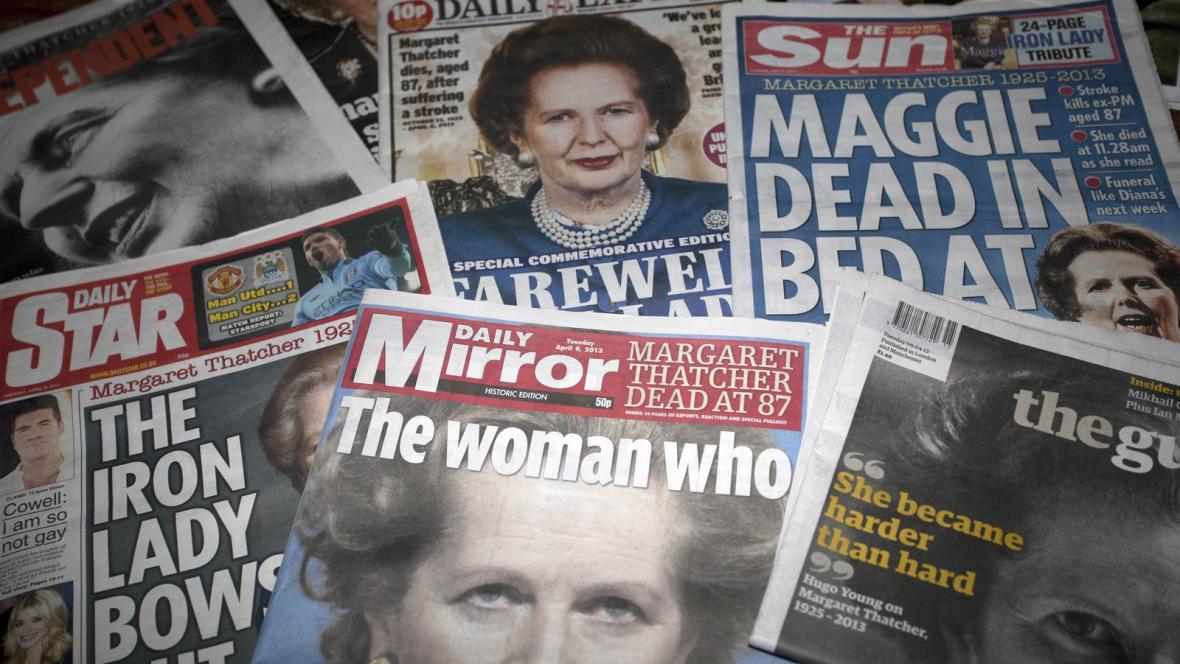 Reakce britského tisku na úmrtí M. Thatcherové