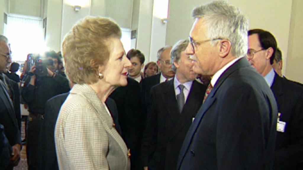 Margaret Thatcherová s Václavem Klausem
