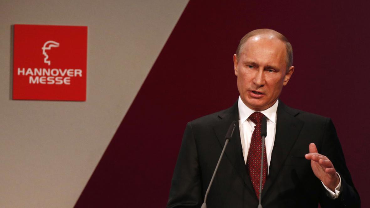 Vladimir Putin na zahájení hannoverského veletrhu