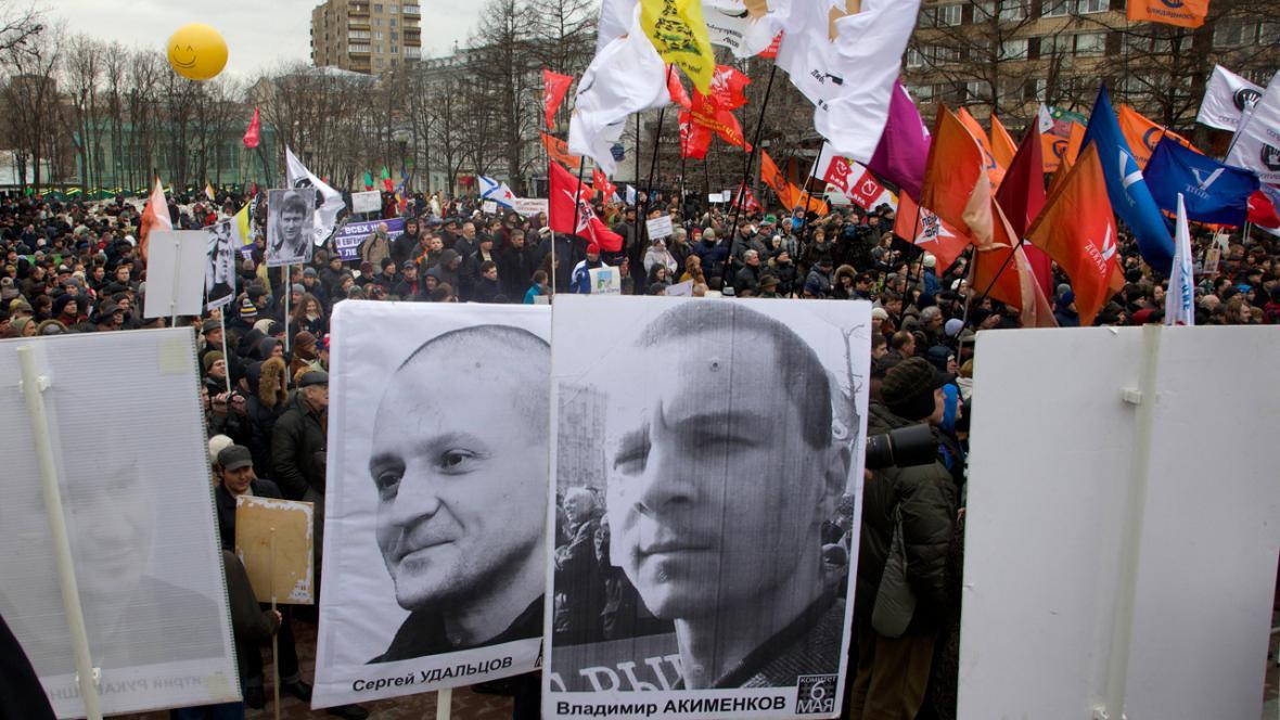 Demonstrace za propuštění vězněných Putinových odpůrců