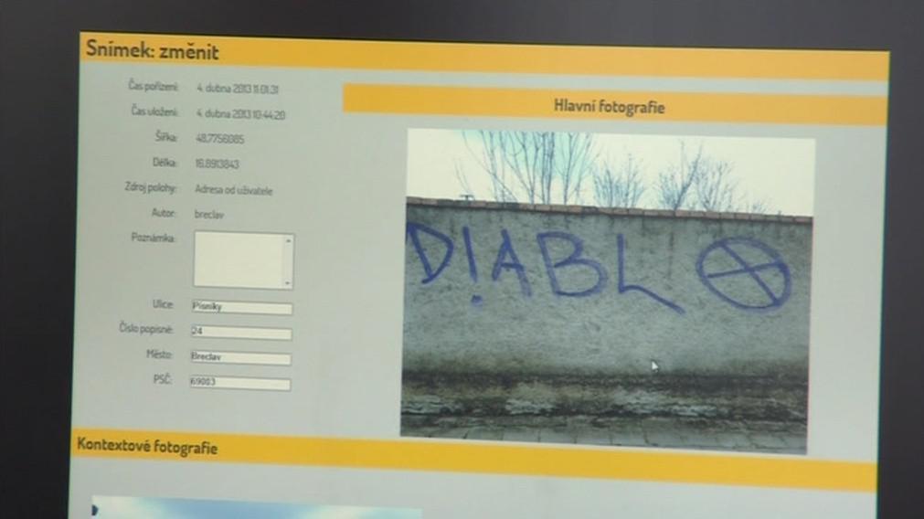 Evidence zaznamenává podrobnosti o graffiti