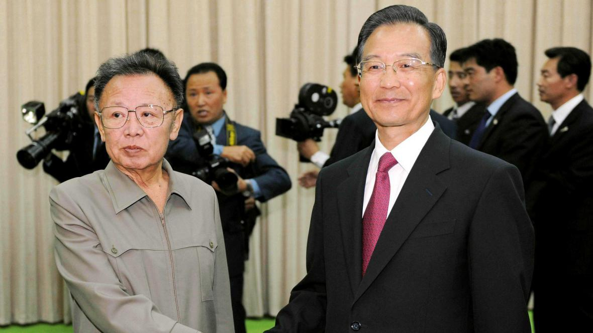 Čínský premiér Wen Ťia-pao a Kim Čong-il