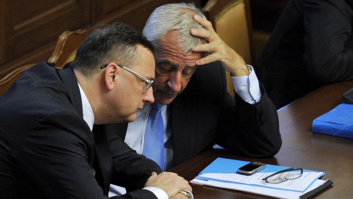 Petr Nečas (ODS) a Leoš Heger (TOP 09)