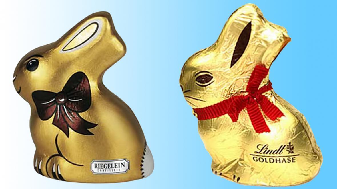 Čokoládový zajíček od firem Riegelein a Lindt