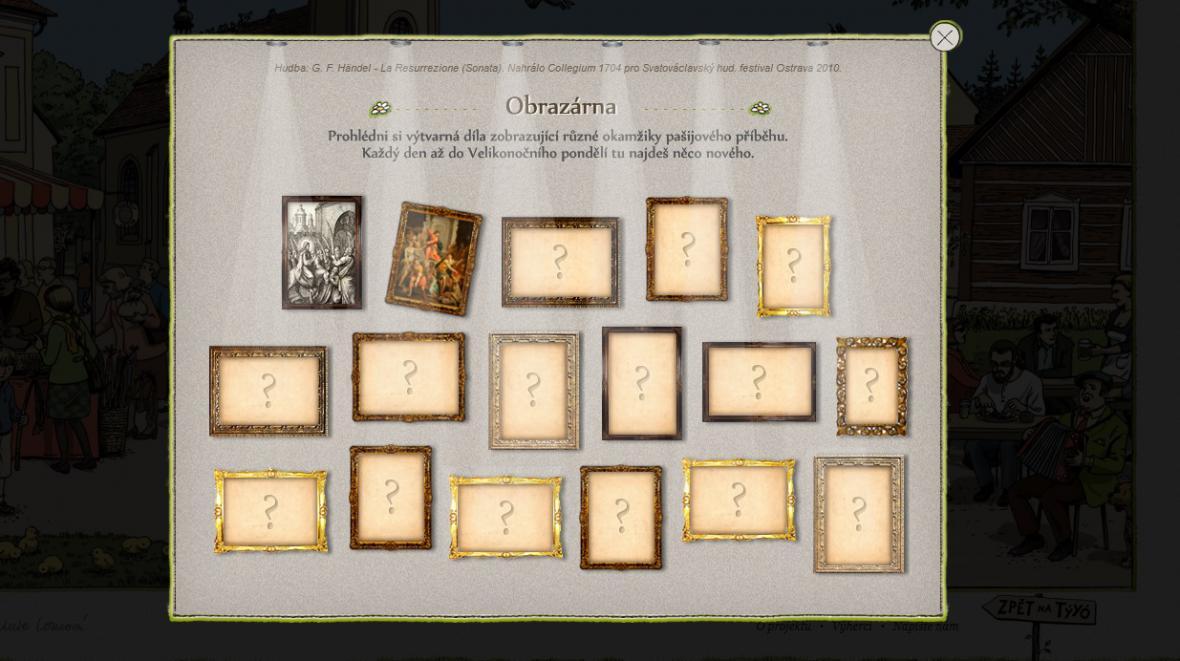 Obrazárna s výtvarnými díly zobrazujícími pašijový příběh