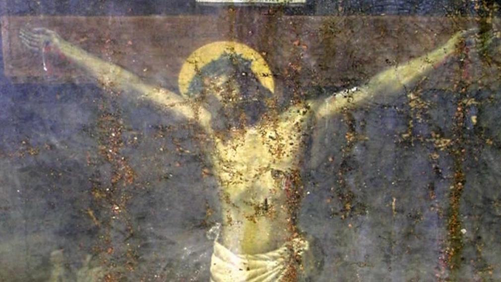 Detail obrazu Ukřižování při rekonstrukci