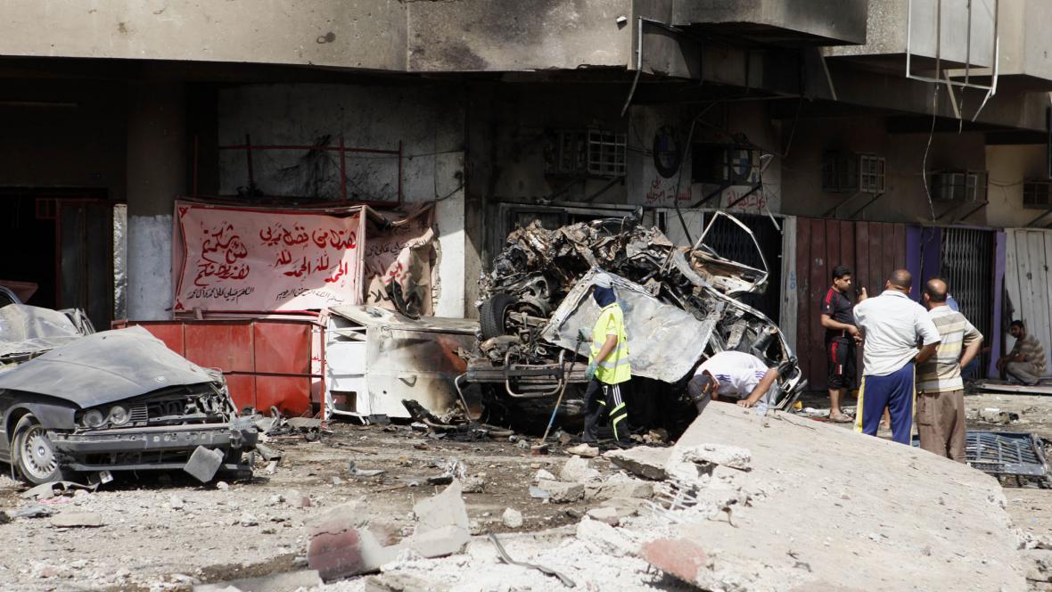 Následky útoků v Bagdádu