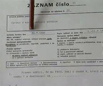 Záznamový formulář o konspirativní schůzce