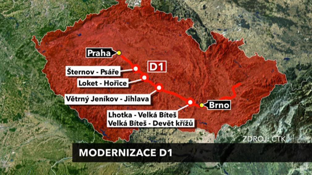 Úseky modernizace D1