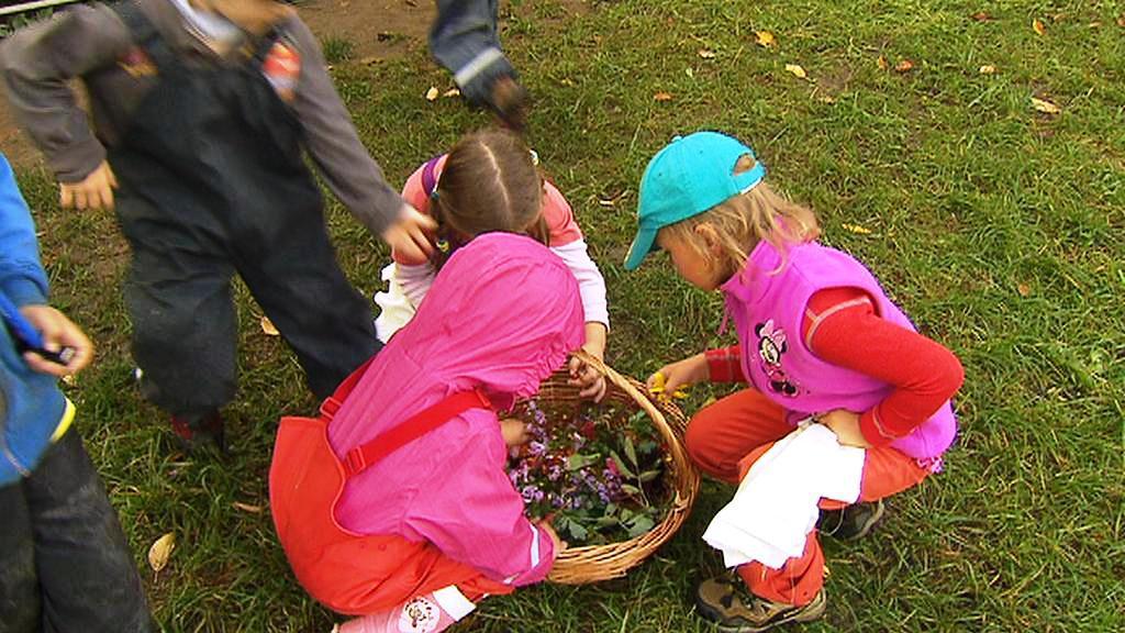 Děti si hrají s květy