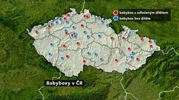 Mapa babyboxů v Česku