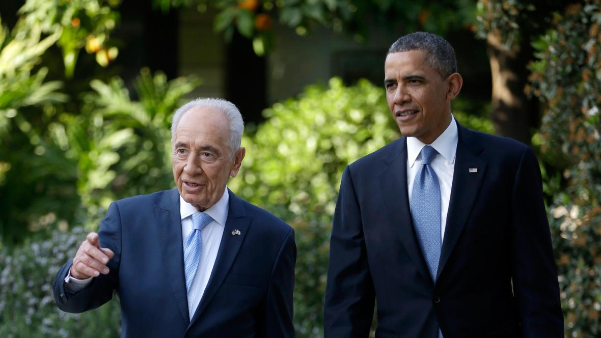 Šimon Peres a Barack Obama