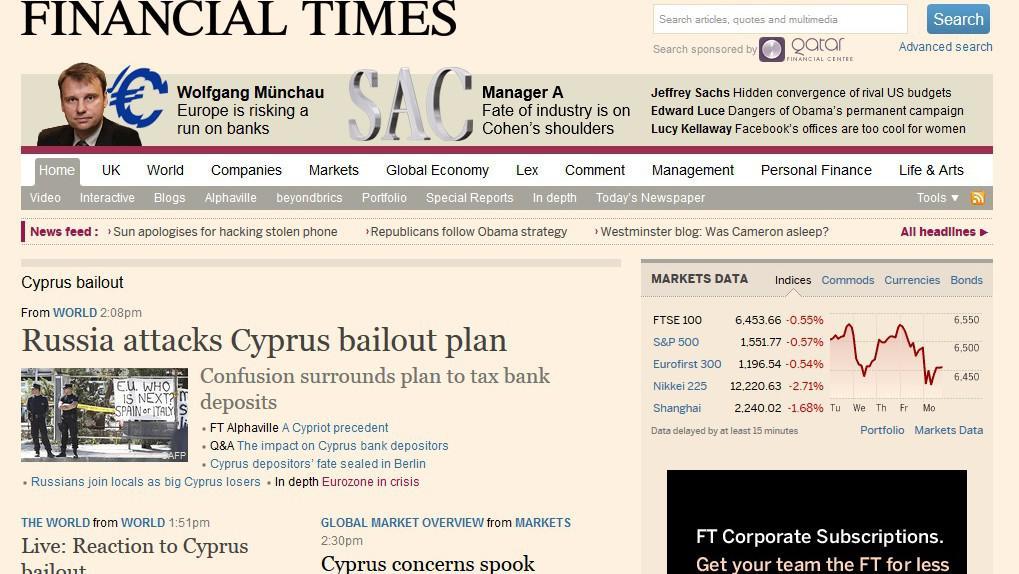 Financial Times o situaci na Kypru