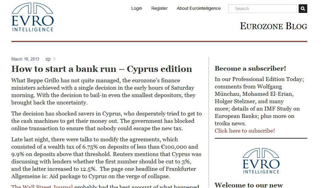 Portál Eurointelligence o situaci na Kypru