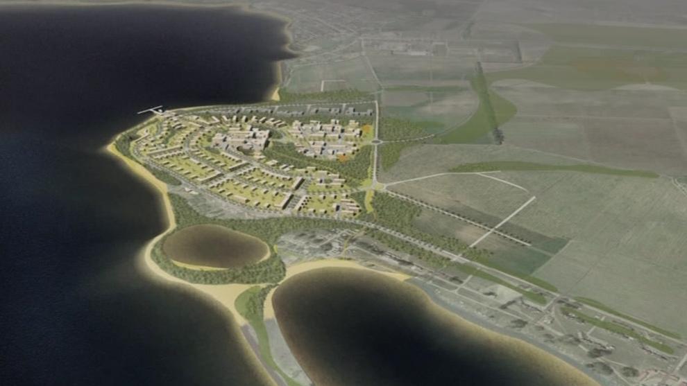 Vizualizace okolí Mušovského jezera u nových lázní