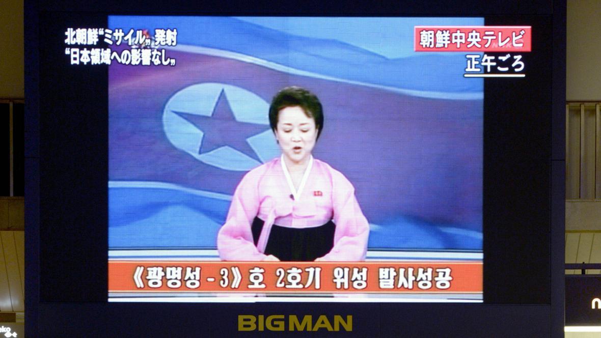Severokorejská televize KRT informuje o startu rakety