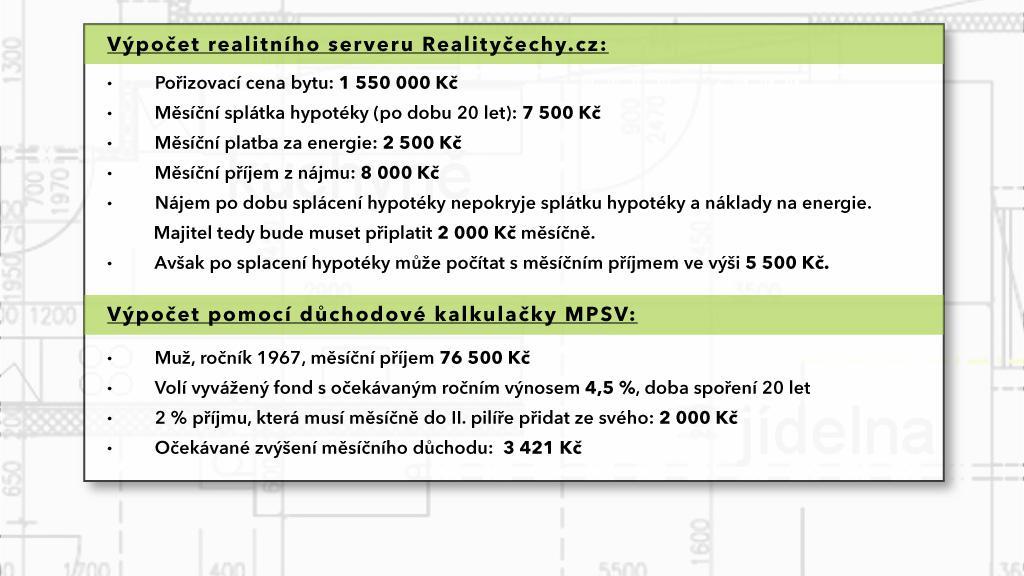 Příklad: Cihlový byt 1+1 v centru Brna versus II. pilíř