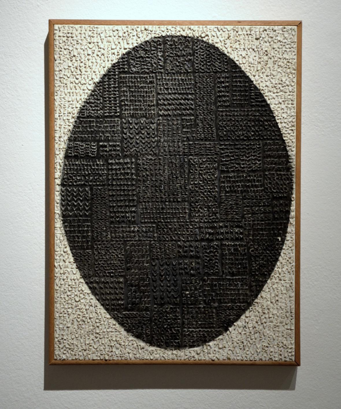 Radek Kratina / Písmová tabule s černým oválem, 1966 (Oblastní galerie v Liberci)