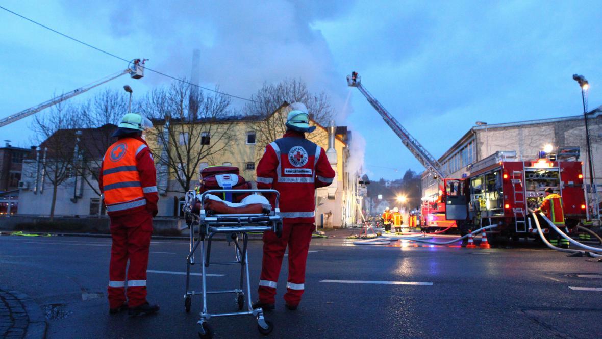 Požár v Backnangu