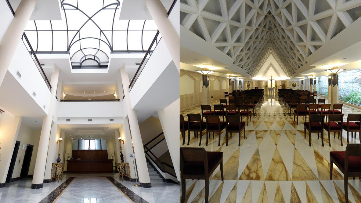 Hotel, kde bydlí kardinálové v době volby nového papeže