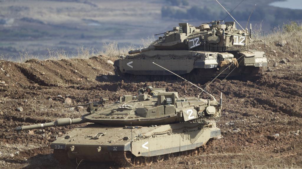 Izraelské tanky na Golanských výšinách