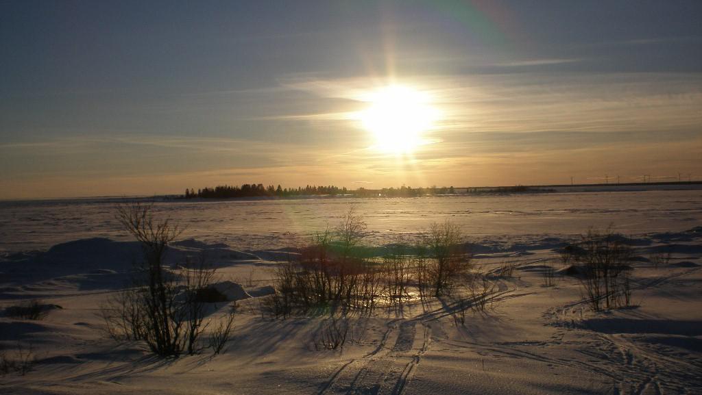 Zamrzlé moře u města Umeå