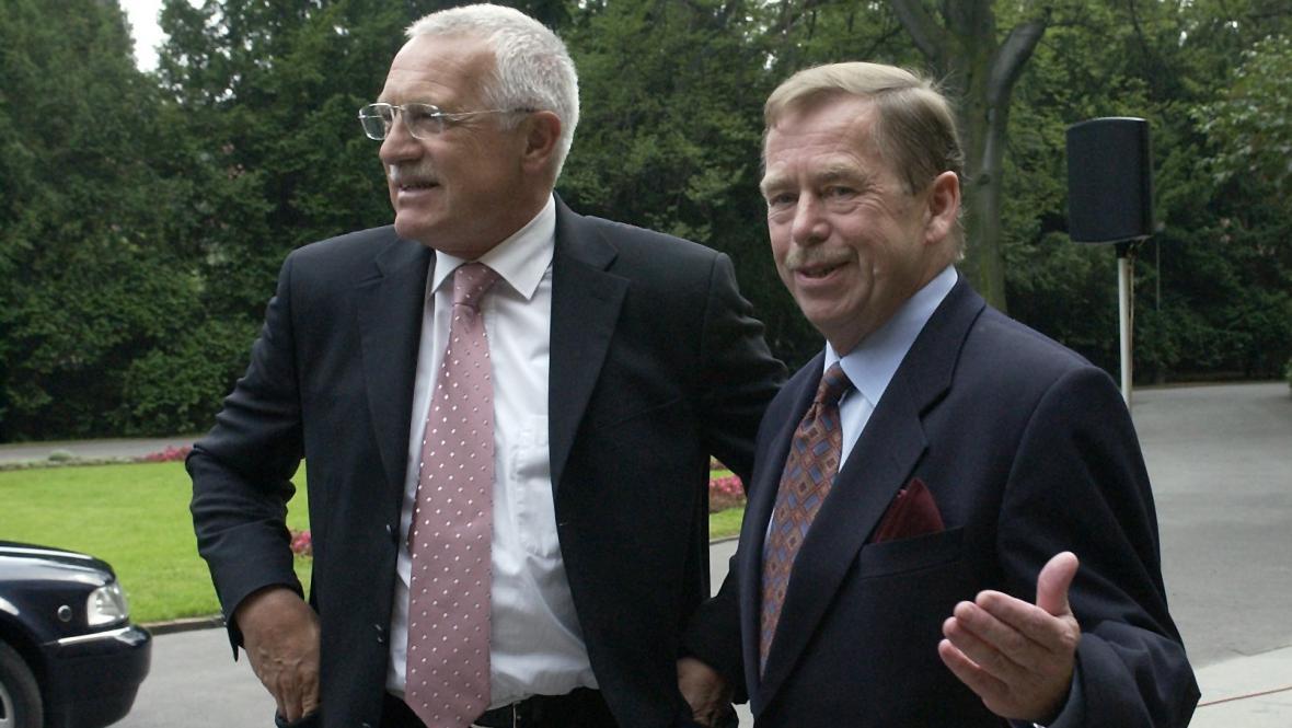 Václav Klaus a Václav Havel v roce 2002