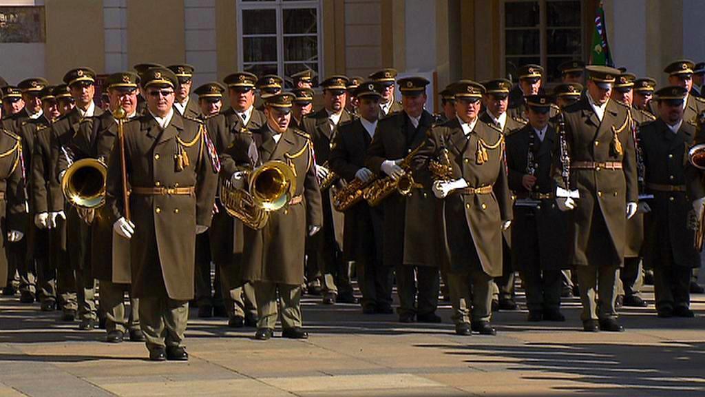 Nácvik ianugurační přehlídky na Pražském hradě