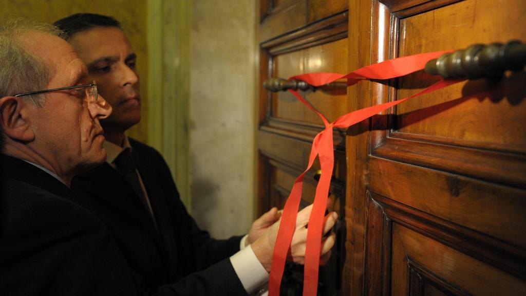 Zapečetění Benediktova bývalého apartmá