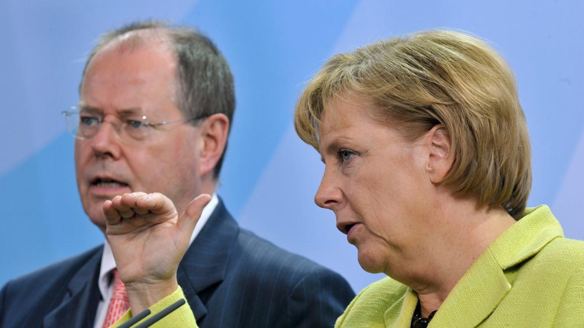 Peer Steinbrück a Angela Merkelová