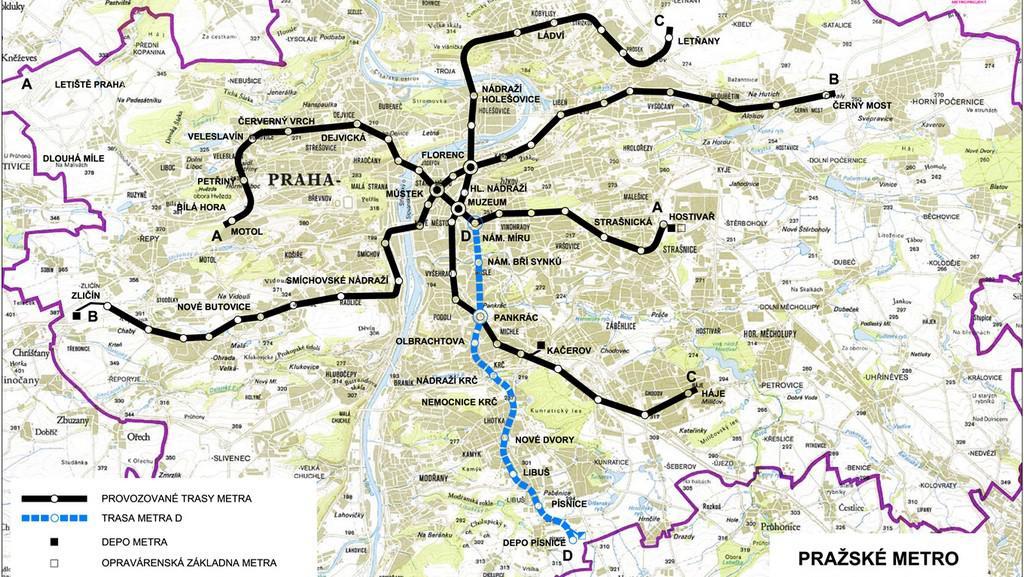 Vedení trasy metra D - koncepce řešení DÚR 12/2011