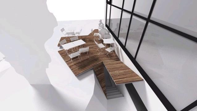 Dům umění - návrh terasy / Zastřešení vstupu do výtvarné dílny