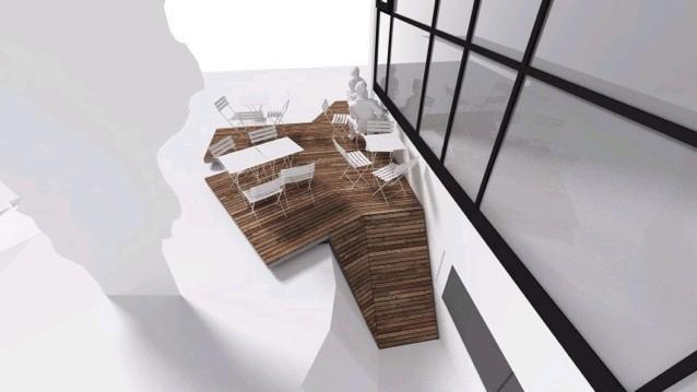 Dům umění - návrh nové terasy / Zastřešení vstupu do výtvarné dílny